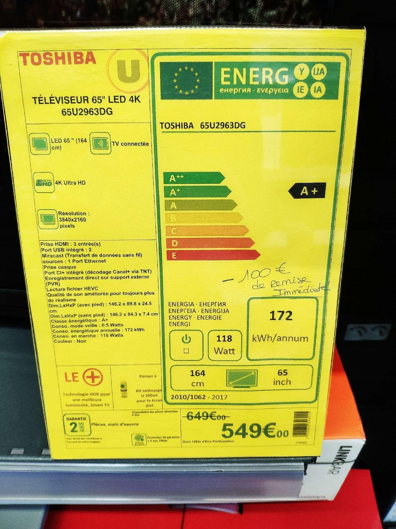 """TV 65"""" Toshiba 65U2963DG (4K UHD, HDR, D-LED, Smart TV, Dolby Vision) - La Guerche-de-Bretagne (35)"""