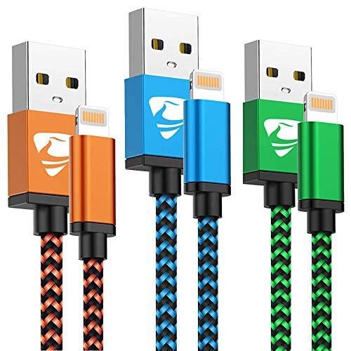 Lot de 3 Cable Lightning en nylon tressé pour iPhone - 1,8m (Vendeur Tiers)