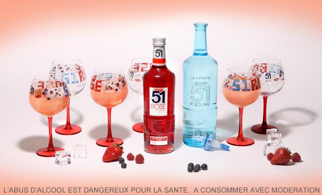 exclusivité Kit 51 Rosé : 1 bouteille 51 Rosé 70cl, 1 carafe d'eau, 6 verres Piscine et 1 bec doseur