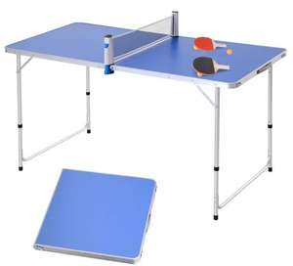 Table de ping-pong/camping pliable + 2 raquettes + 3 balles (hauteur réglable)