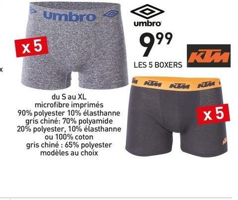 Pack de 5 boxers Homme Umbro ou KTM (du S au XL)