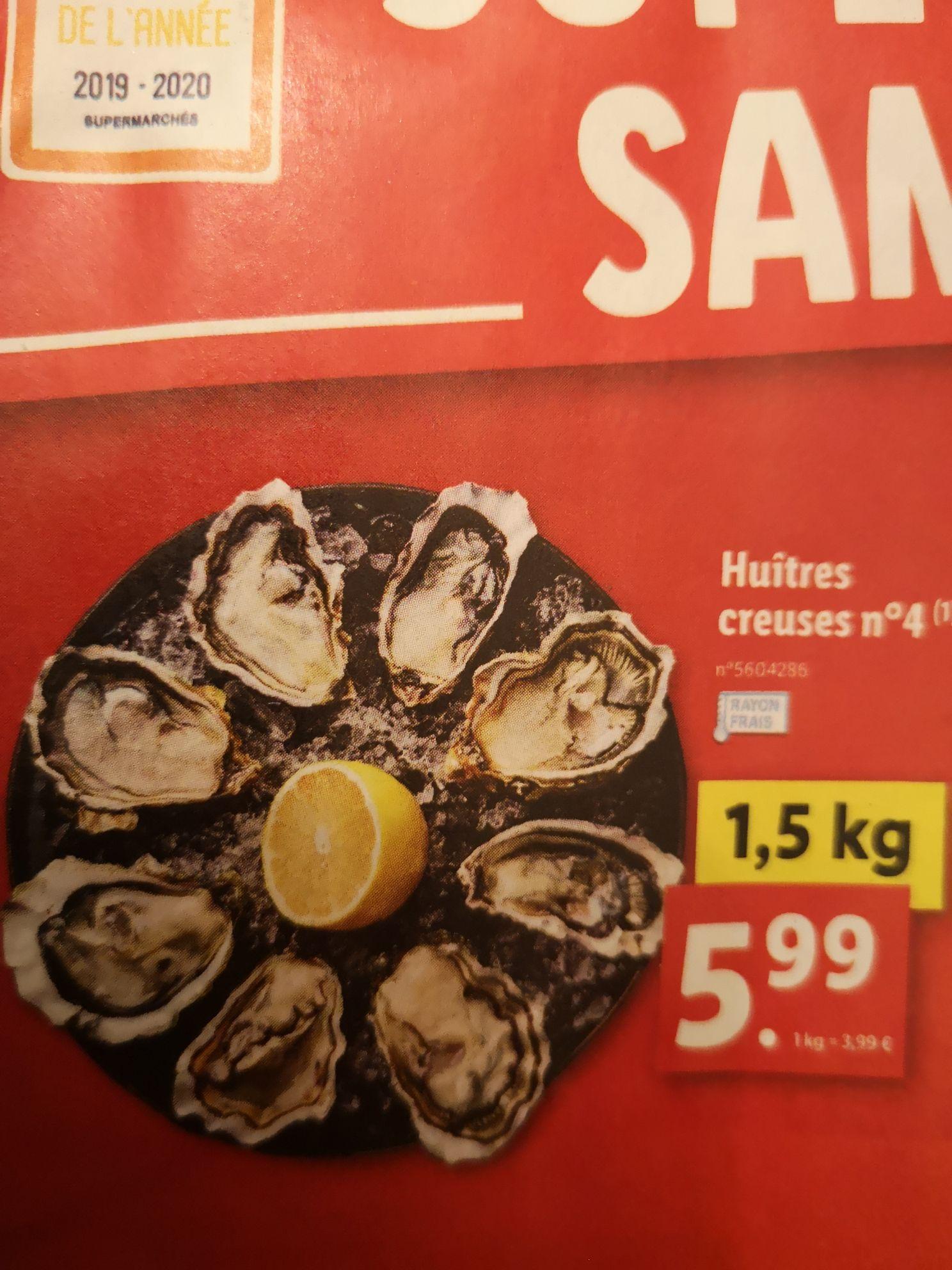 Bourriche d'huîtres creuses n°4 - 1.5Kg