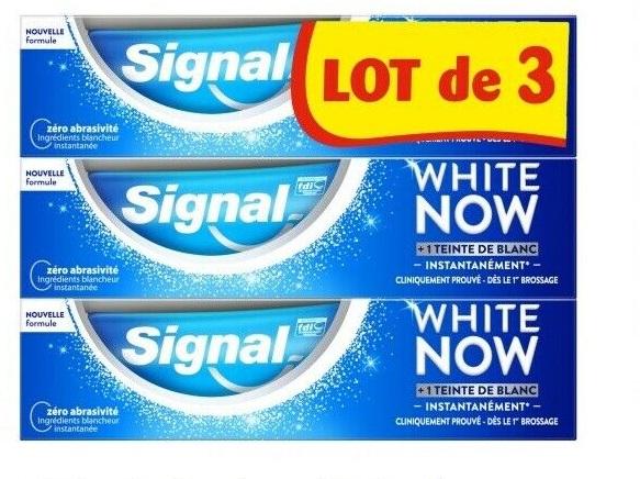Selection d'articles en promotion à 80% - Ex : Dentifrice Signal White Now - 3 x 75 cl (via 5.2 € sur la carte fidélité)