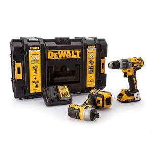 Pack Dewalt DCK266D2: Perceuse visseuse à percussion DCD796 + Visseuse à chocs DCF887 18V + 2 batteries 2,0 Ah