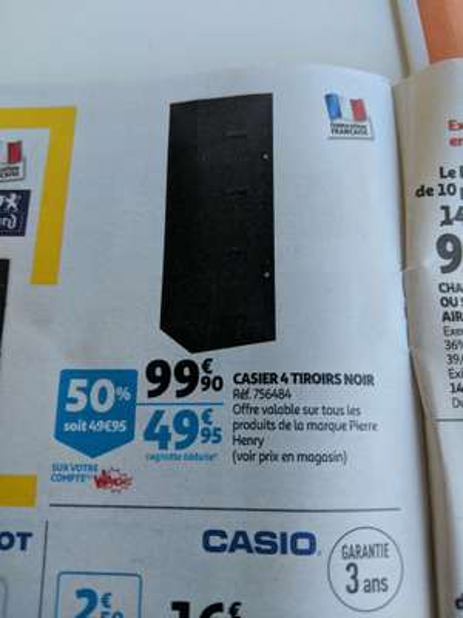 Casier 4 tiroirs Pierre Henry - Noir (Via 49.95€ sur Carte Fidélité)