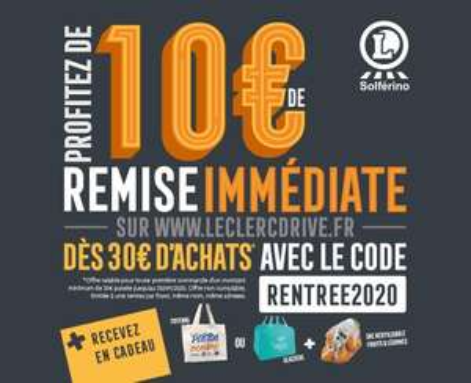 [Nouveaux clients] 10€ de remise dès 30€ d'achats sur votre première commande - Leclerc Drive piétons Lille Solférino (59)