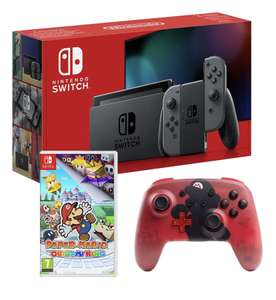 Console Nintendo Switch Grise + Manette sans fil Mario + Paper Mario : The Origami King