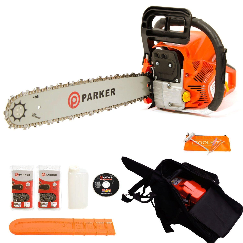 Tronçonneuse Thermique Parker PCS-6200 avec guide 50cm, 2 chaines, sac de transport et kit d'outils