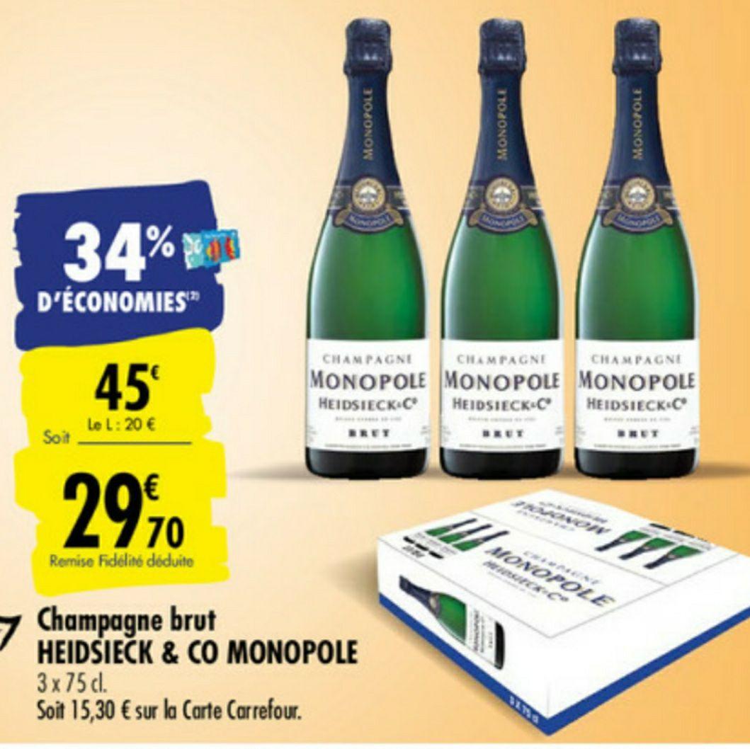 3 bouteilles champagne Heidsieck Monopole - 3 X 75cl (via 15.3€ sur la carte fidélité)