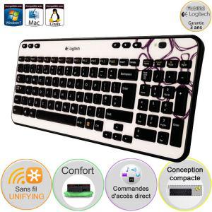 Logitech clavier sans fil K360 Purple Pebbles