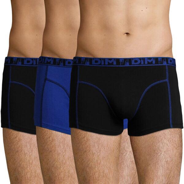 2 Lots de 3 Boxers Dim achetés = le 3ème lot offert - Ex : 3 lots de 3 boxers coton stretch Outremer Ecodim Mode - Noir et Bleu