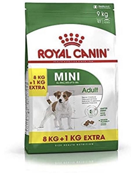 Paquet de croquettes pour chien Royal Canin Mini Adult - 8 + 1 kg
