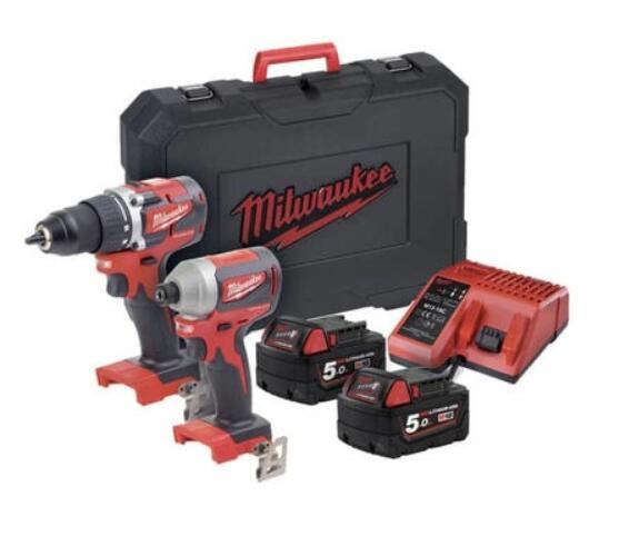 Pack Milwaukee sans fil Brushless M18 CBLPP2B-502C - Perceuse-visseuse CBLDD, Visseuse à chocs CBLID, 2 x 5.0 Ah, Chargeur, Coffret