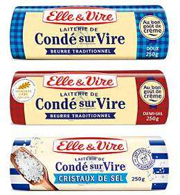Lot de 3 paquets Beurre de Condé-sur-Vire Elle & Vire (doux, demi-sel ou avec cristaux de sel au choix)