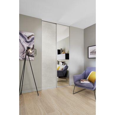 Porte de placard coulissante GLISSEO - Décor miroir argent, 61.6cm