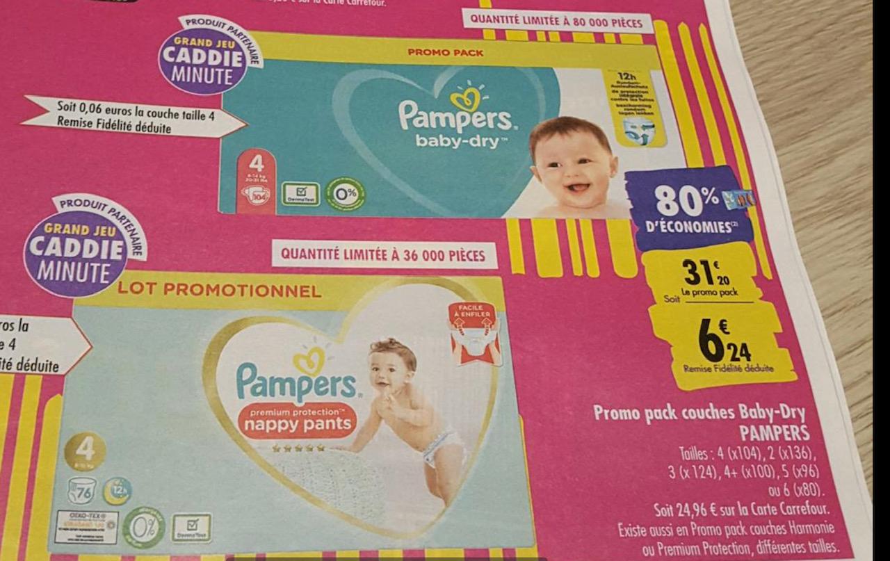 Paquet de couches Pampers Baby-Dry à 4.42€ ou Pampers Harmonie Promo Pack à 3.24€ - différentes tailles (via 24.96 € en fidélité + BDR)