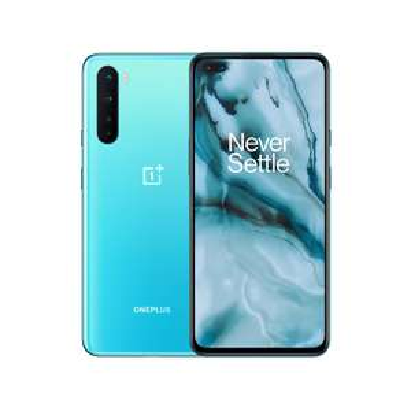 "Smartphone 6.44"" OnePlus Nord - 5G, Full HD+ AMOLED 90 Hz, Snapdragon 765G, RAM 8 Go, 128 Go (Bleu) + Coque Sandstone Bumper Case"