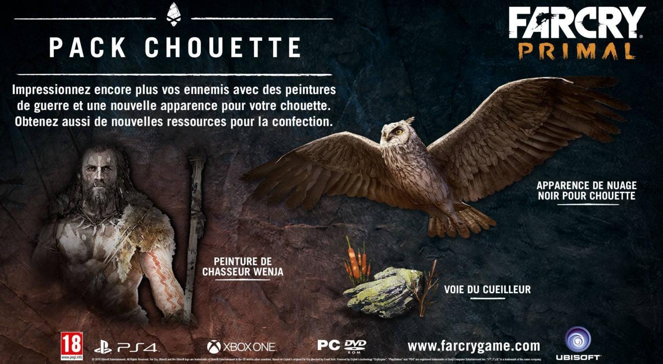 """Pack DLC """"Chouette"""" / """"Tigre à dent de sable"""" / """"Mammouth"""" gratuit pour le jeu Far Cry Primal"""