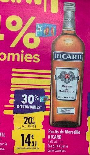 Bouteille de Ricard Pastis de Marseille - 1 L (via 6.14€ sur la carte)