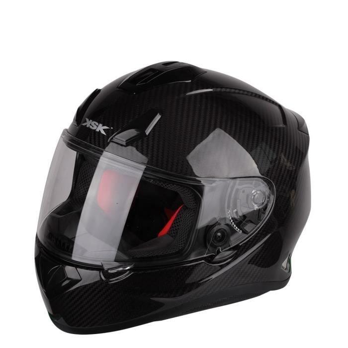 Casque de moto intégral KSK Trendy - Fibre de carbone, Boucle Double-D, 1200 g, homologué (taille au choix) - Vendeur tiers