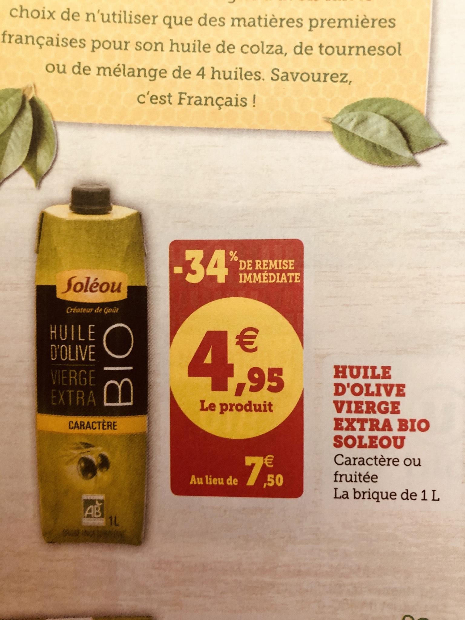Huile d'olive vierge extra Bio Soléou - 1l (Via Shopmium + BDR)