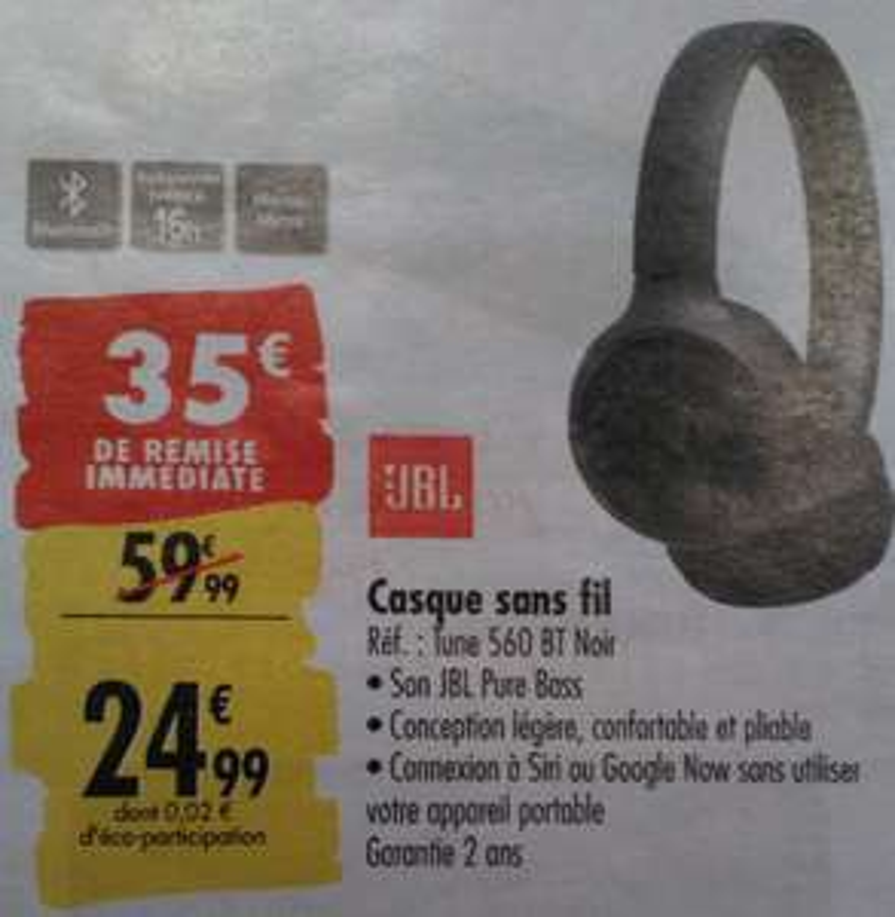 Casque Audio Bluetooth JBL Tune 560 BT - Noir