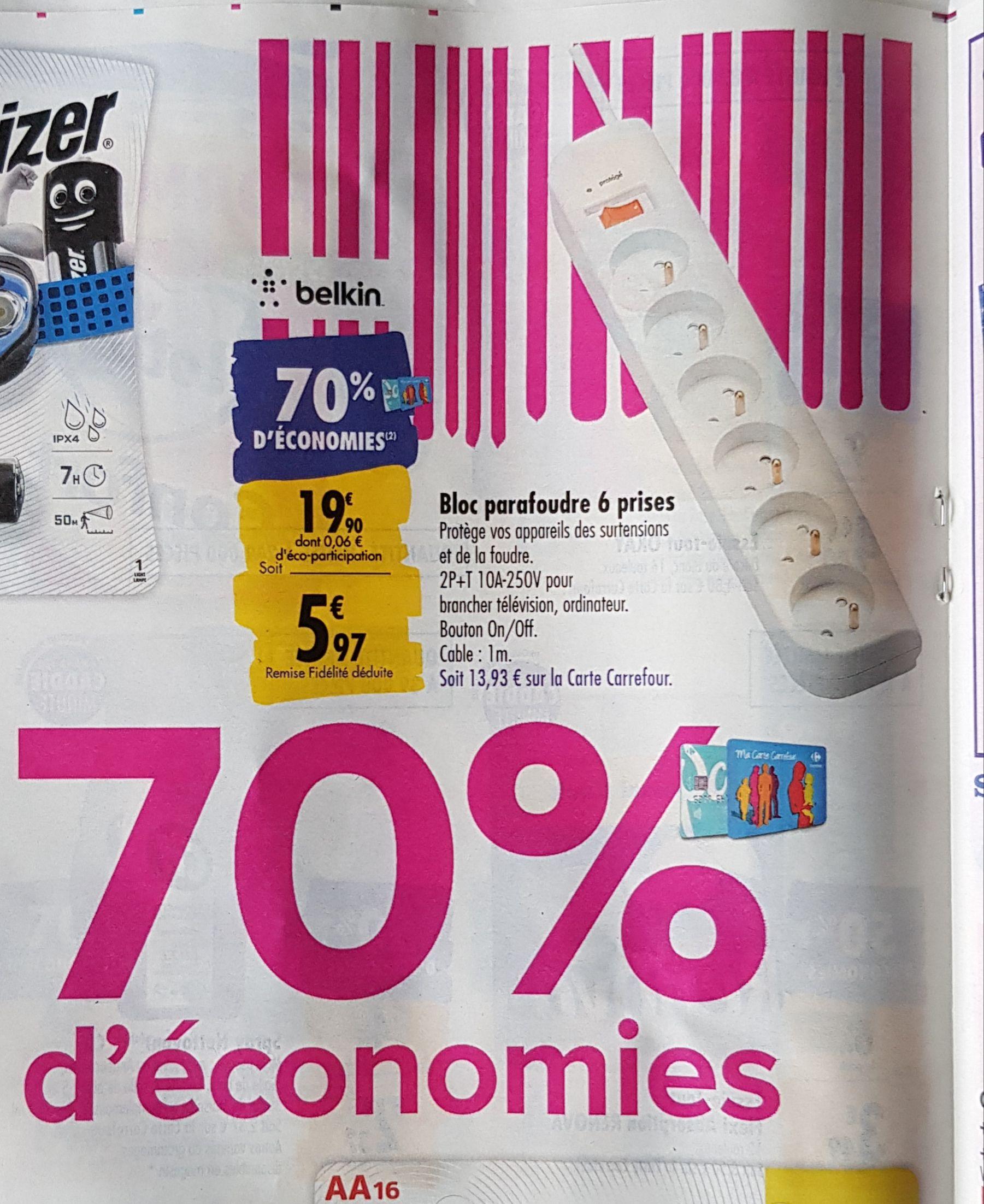 Bloc parafoudre Belkin - 6 prises (via 13.97€ sur la carte fidélité)