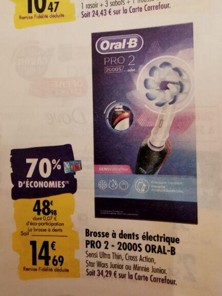 Brosse à dents électrique Oral B Pro 2 2000S - Plusieurs modèles (via 34.29€ sur la carte fidélité)
