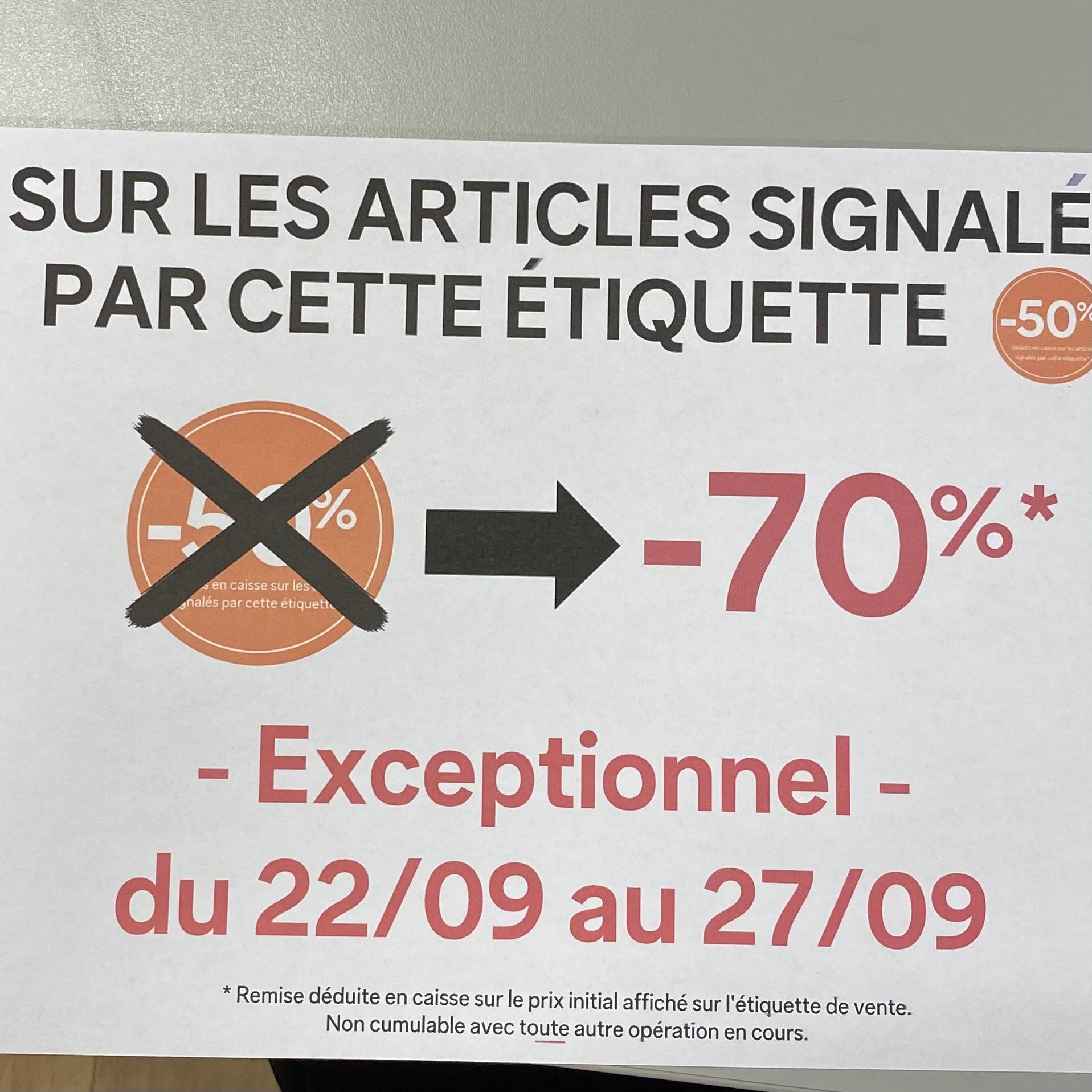 50% passe à -70% de réduction sur une sélection d'articles déjà remisés - Saint Quentin en Yvelines (78)