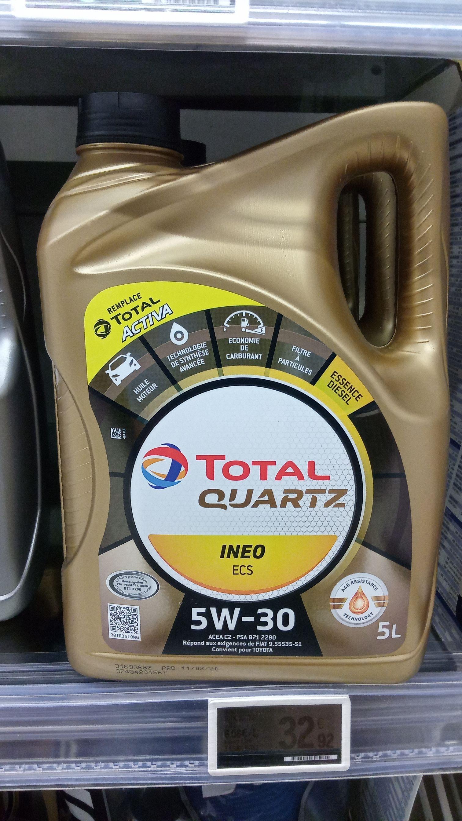 1 Bidon d'huile Total Quartz Ineo ECS 5W30 5L - Civrieux d'azergue (69)