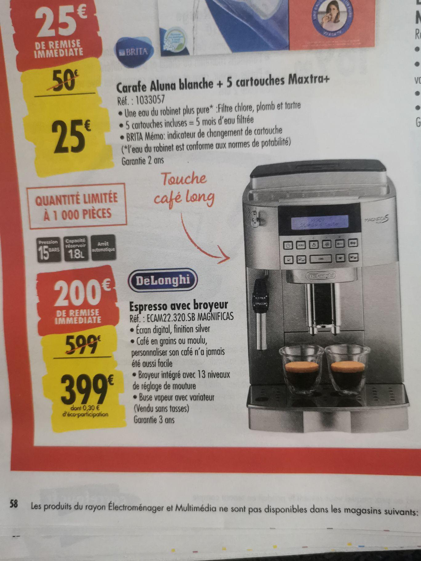 Machine à Espresso Delonghi Ecam22.320.SB Magnificas avec broyeur