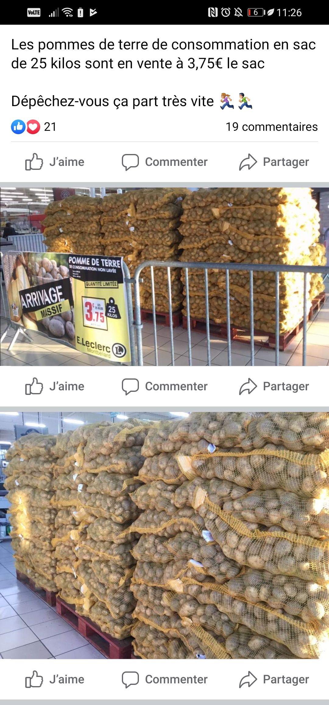 Sac de pommes de terre de consommation non-lavées (25 kg) - Montbéliard (25)