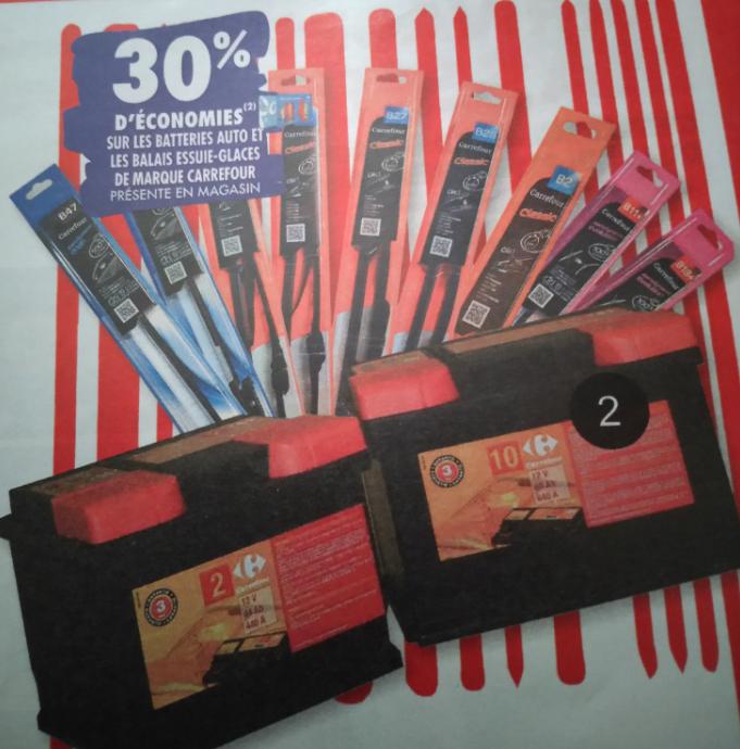 [Carte Fidélité] 30% offerts sur les Batteries Auto et les Balais d'essuie-glaces de marque Carrefour