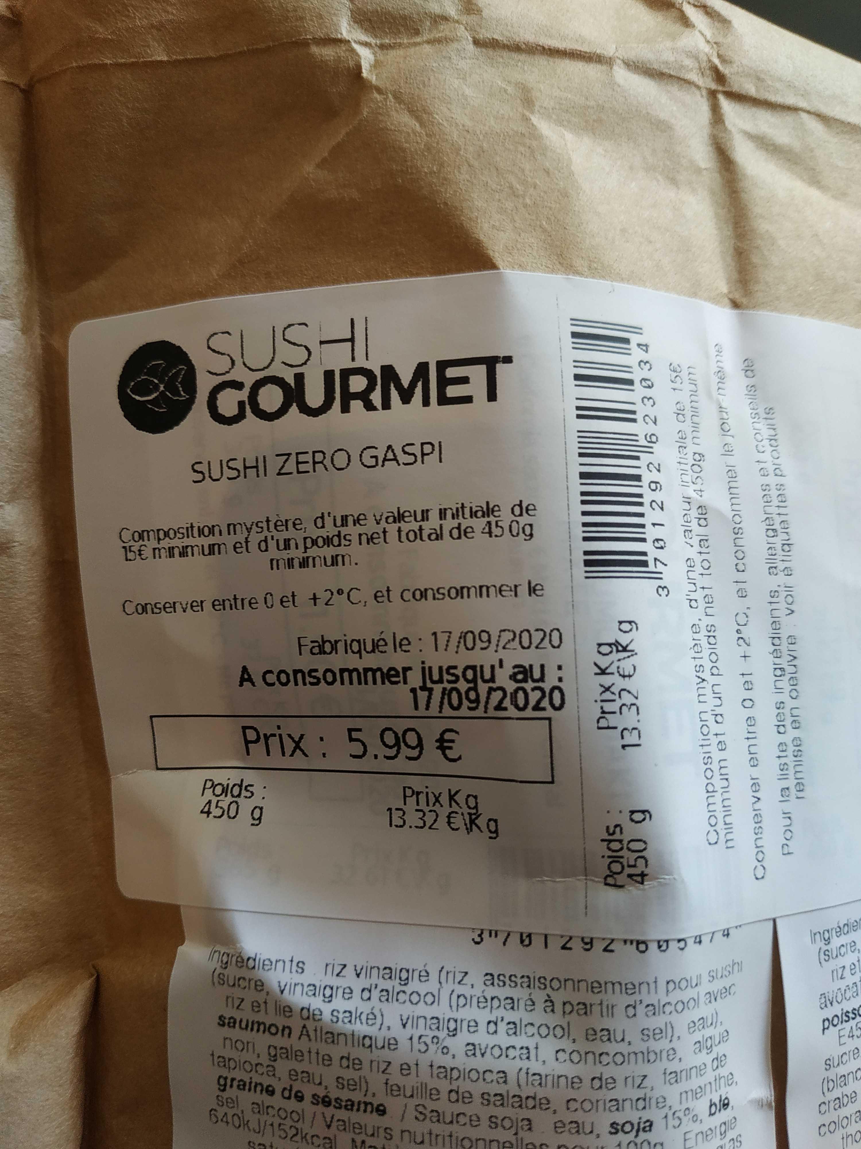 Paquet de Sushi Gourmet Zéro Gaspi (450 g) - Longuenesse / Saint Omer (62)