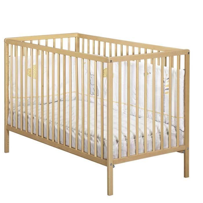 Lit à barreaux pour bébé & enfant Baby Price - 3 positions, Galeries en hêtre vernies naturel