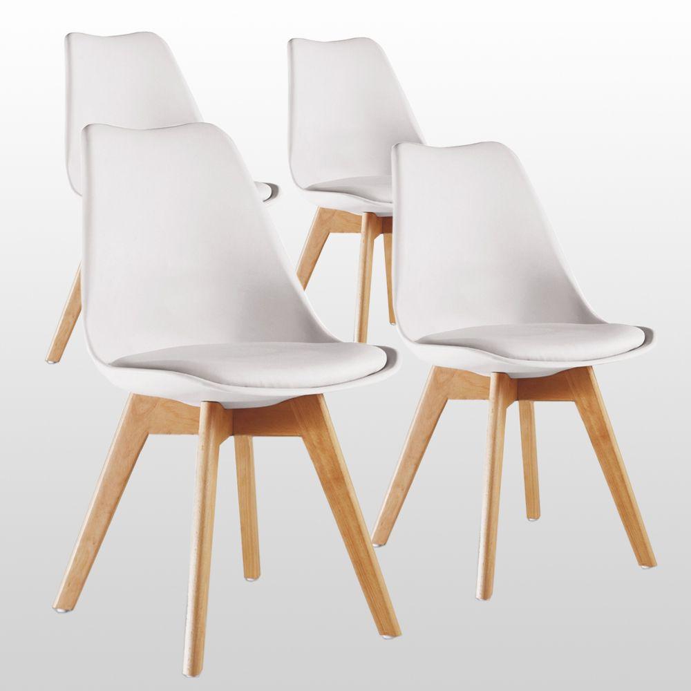 Lot de 4 chaises style scandinave Life Interior Lorenzo - assises rembourrées, blanches (+ 12.6€ en SuperPoints)