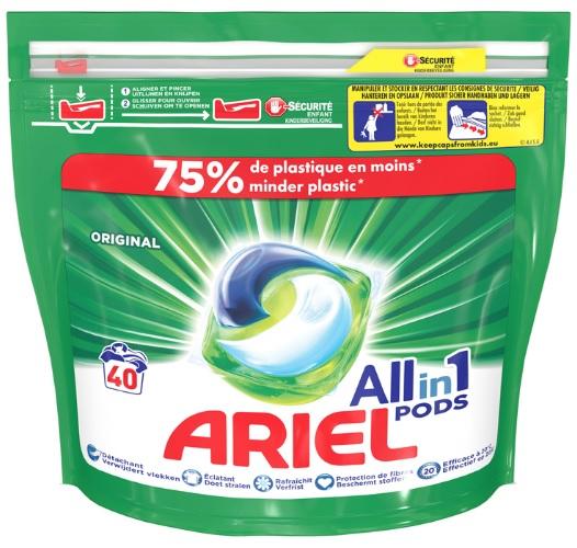 Paquet de 40 capsules de lessive Ariel Pods All in 1 - différentes variétés (via 10,80 € sur le carte fidélité et BDR)