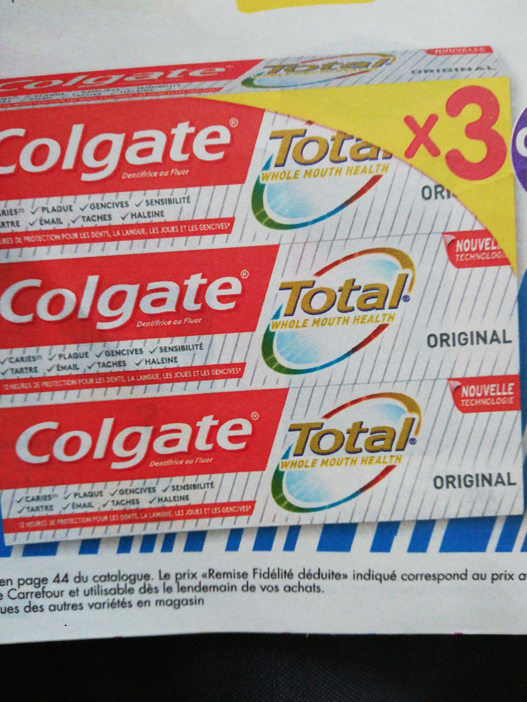 Lot de 3 tubes de Dentifrice Colgate Total - 3x75ml (Via 3.83€ sur Carte Fidélité)
