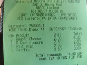 Double cheese à 2€ - Lorient (56), Mellac (29)