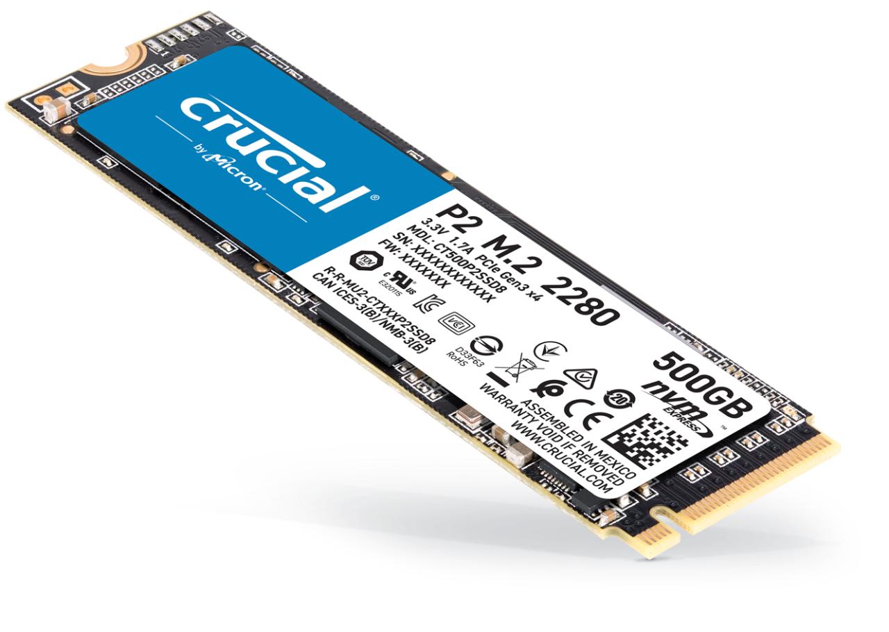 SSD Interne M.2 NVMe Crucial P2 (TLC 3D, DRAM less) - 500 Go