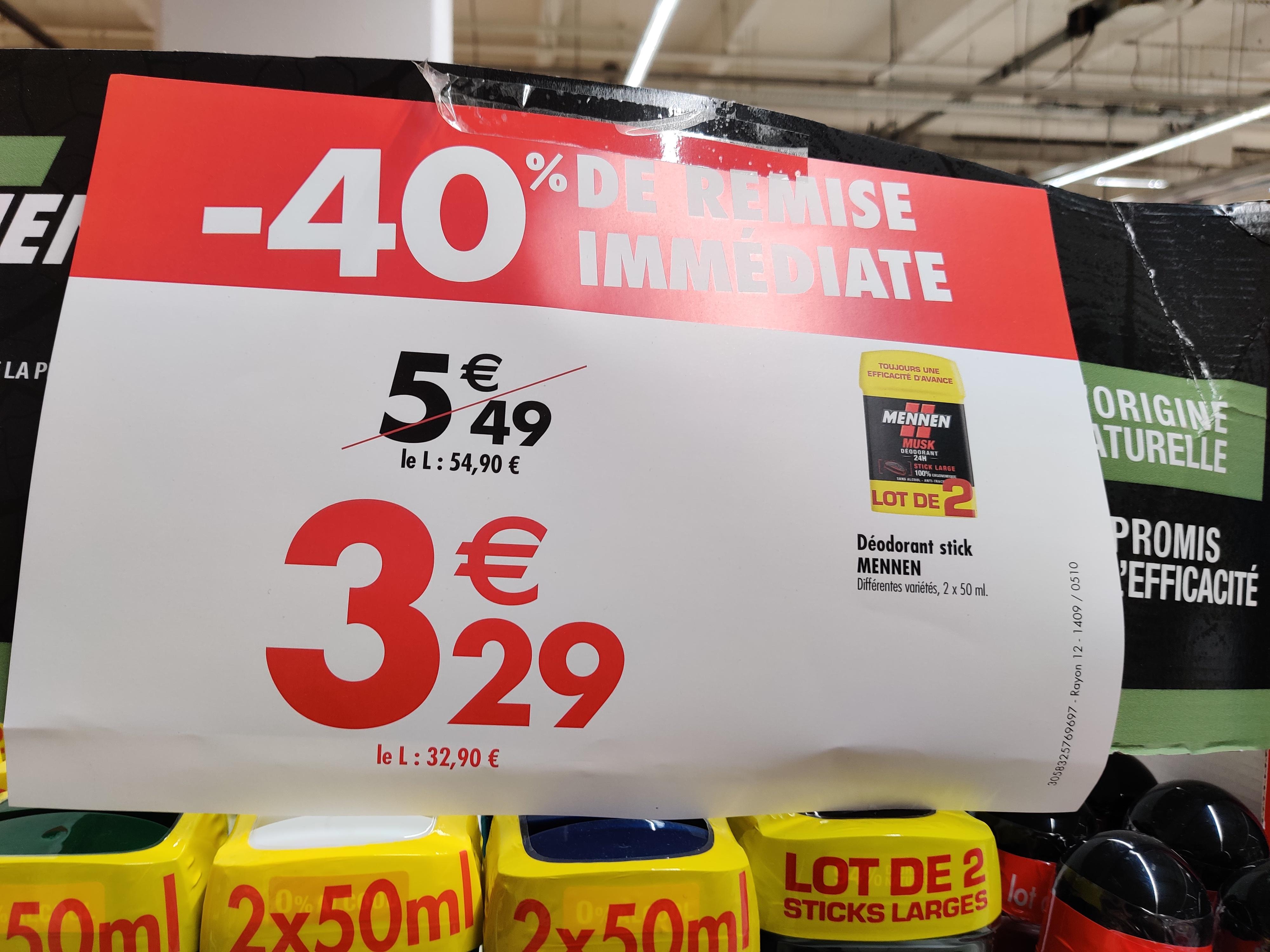 Lot de 2 Déodorants Mennen pour Homme - Différent Variété - Evry (91)
