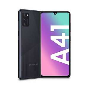 "Smartphone 6.1"" Samsung Galaxy A41 - 64 Go, Noir Prisme + Coque de protection Transparent + Protection d'écran en verre trempé"