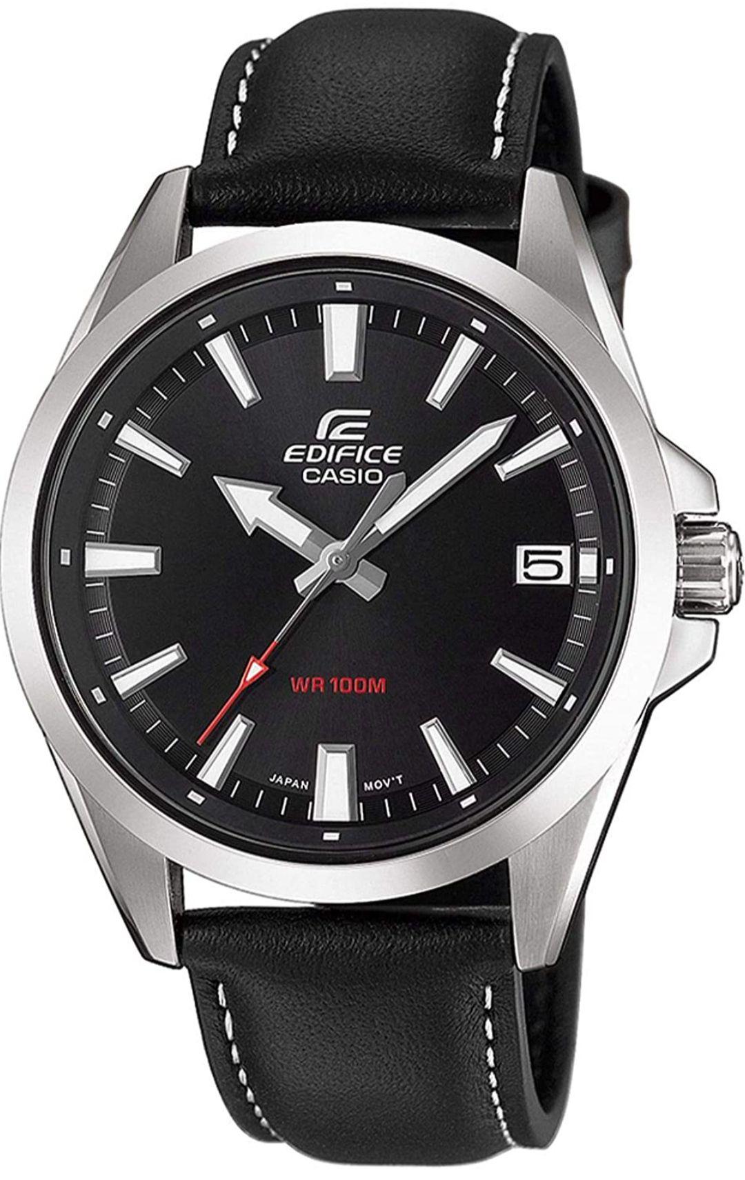 Montre quartz Casio Edifice EFV-100L-1AVUEF pour Homme - Bracelet en Cuir Véritable