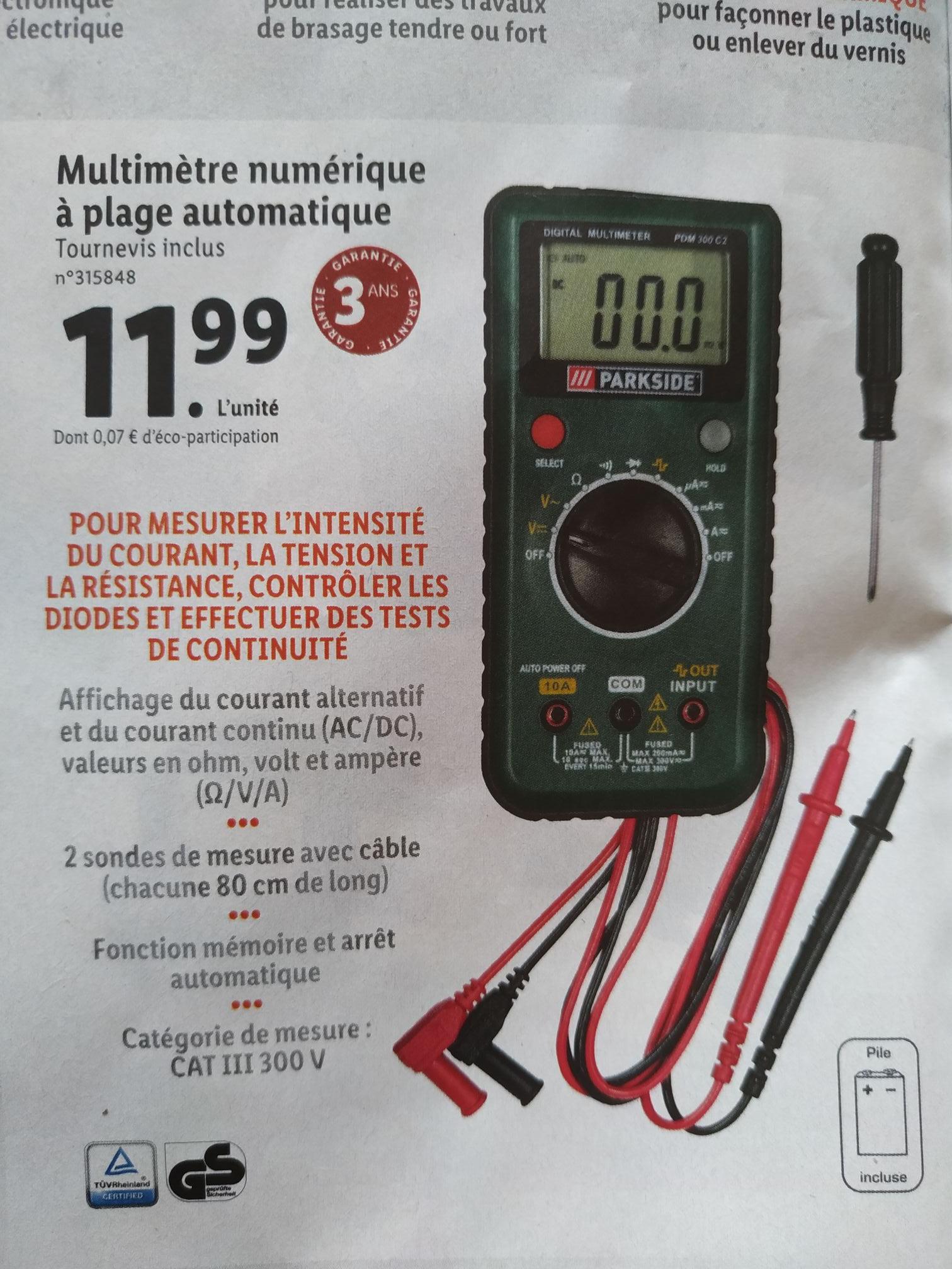 Multimètre numérique à plage automatique Parkside - 300V