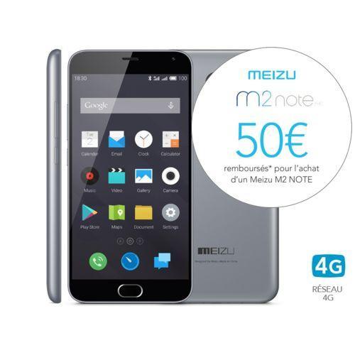 """Smartphone 5.5"""" Meizu M2 Note 4G (via ODR 50€) - 16 Go"""