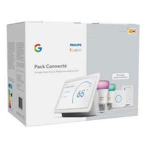 Pack Connecté Fnac Google Nest Hub + Kit de démarrage Philips Hue (Retrait magasin)