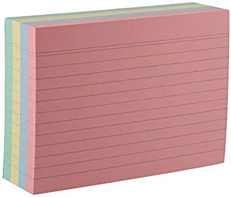 Lot de 200 fiches bristol Herlitz - format A6, lignées, couleurs assorties
