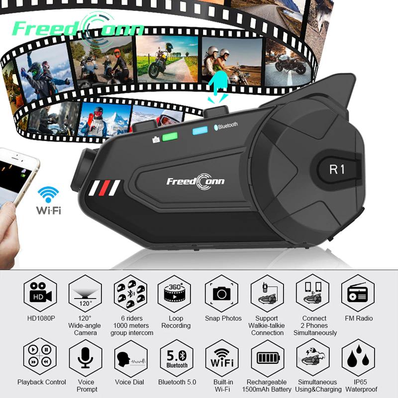 Kit mains-libres pour moto FreedConn R1 Plus - Bluetooth 5.0