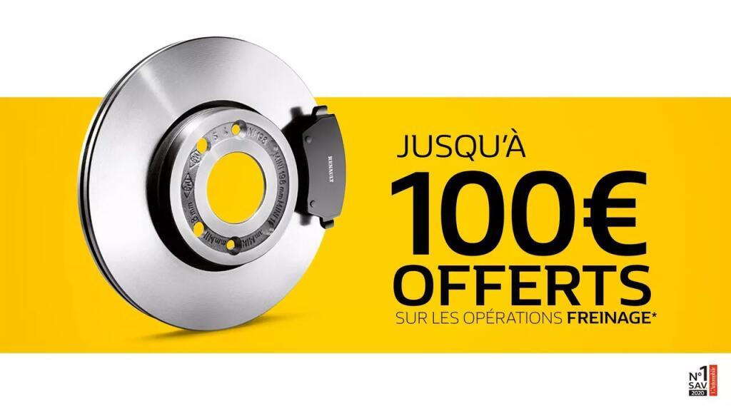 De 20 à 100€ offerts en bon d'achat pour les opérations de freinage (disques / plaquettes de frein)