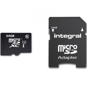Carte microSDXC Integral UltimaPro 64 Go Classe 10 (jusqu'à 90 Mo/s) avec adaptateur